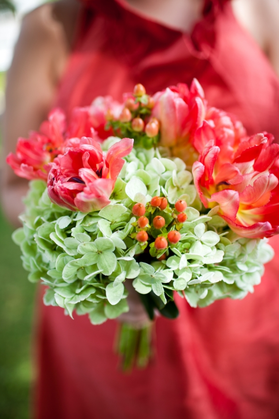 blossoms events hydrangea pink tulip wedding bouquet