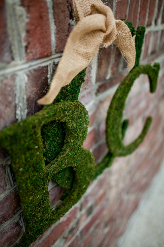 moss covered wedding letters