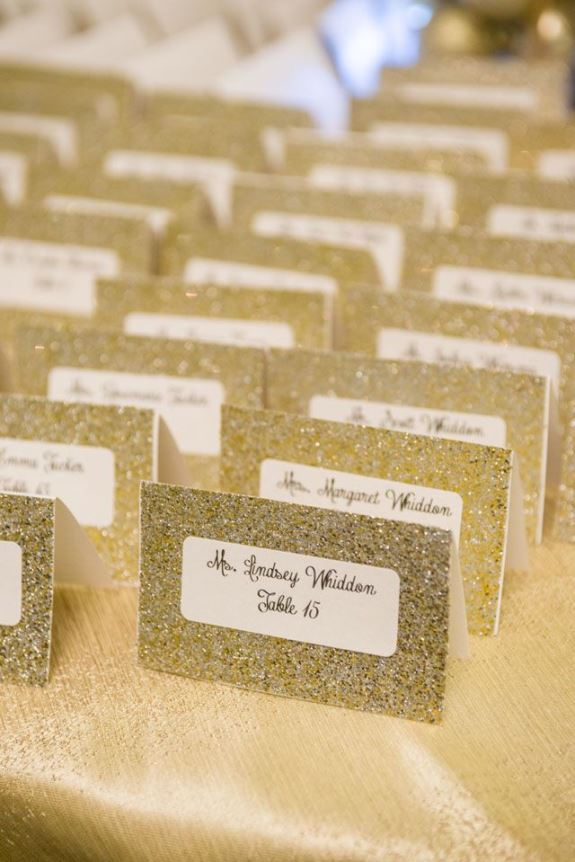 charleston weddings gold glitter wedding escort cards