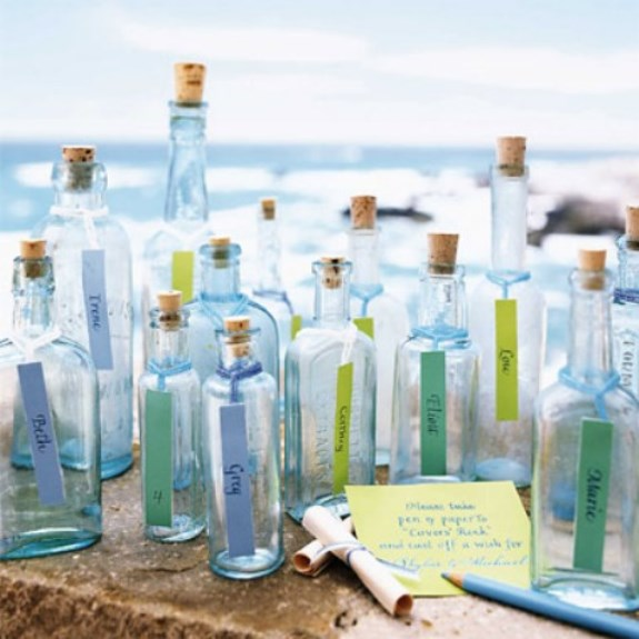 message in a bottle coastal wedding place cards