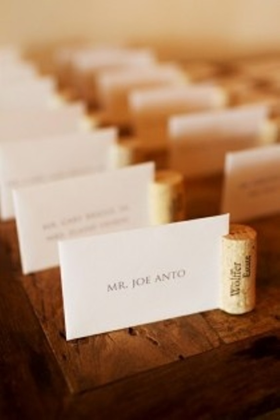 wine cork wedding place cards