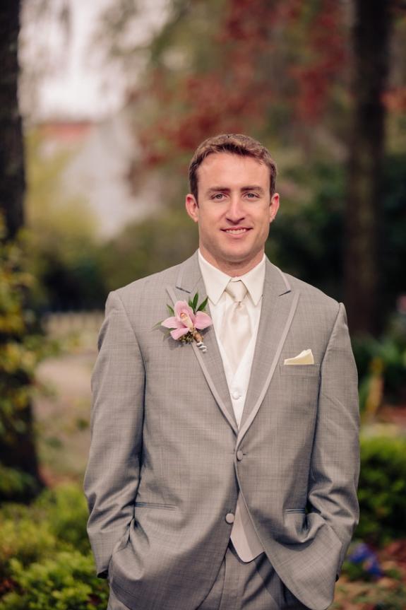charleston wedding groom in a grey suit
