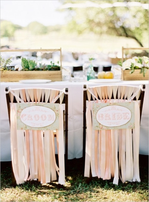 south carolina weddings, ribbon wedding chair detail