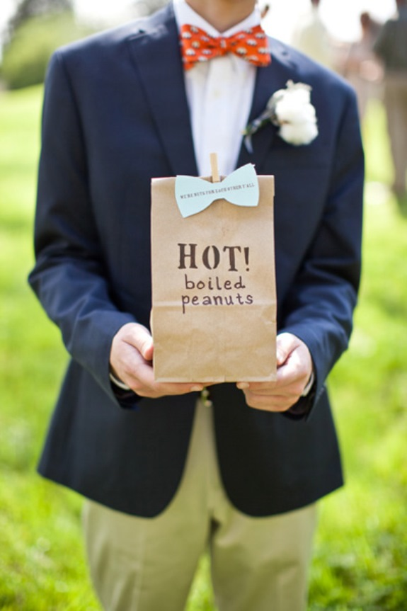 southern wedding favors hot boiled peanuts