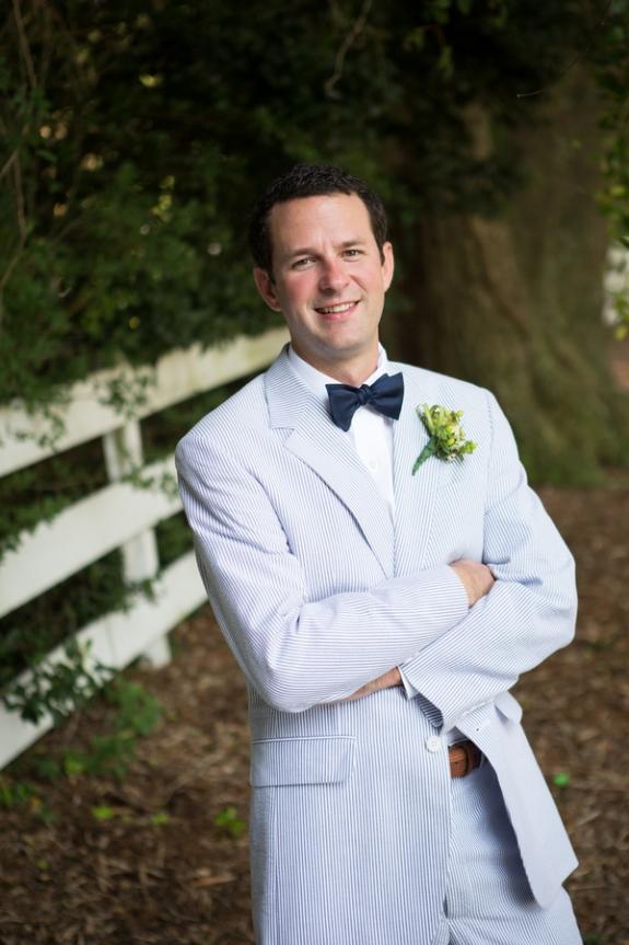 charleston wedding, seersucker suit and navy bow tie