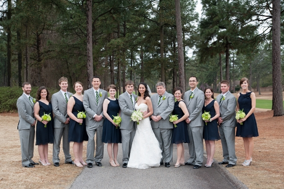 southern weddings, navy and green bridal party