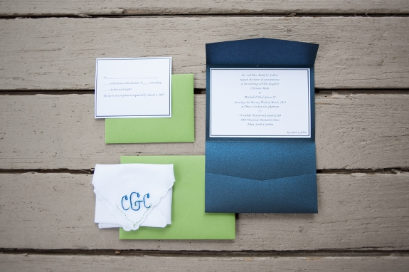 south carolina weddings, green and navy invitations