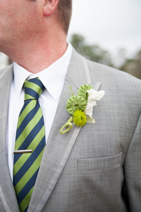 green and navy wedding colors, boutonnieres