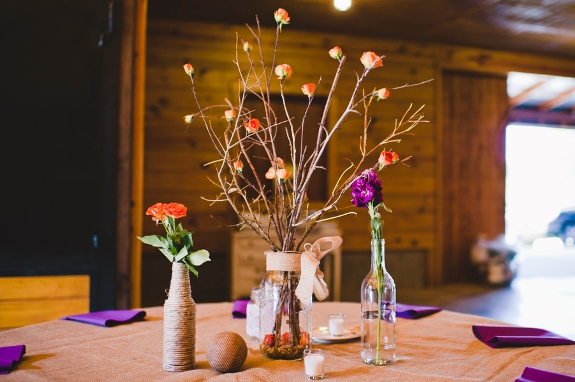 orange and purple wedding decor