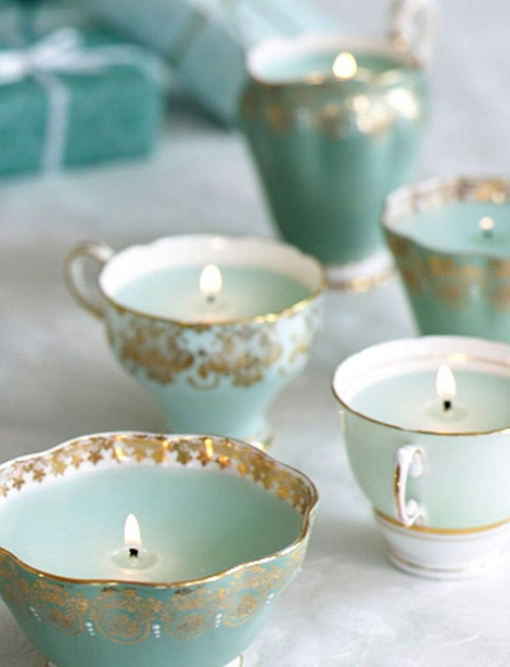 vintage teacup wedding candles