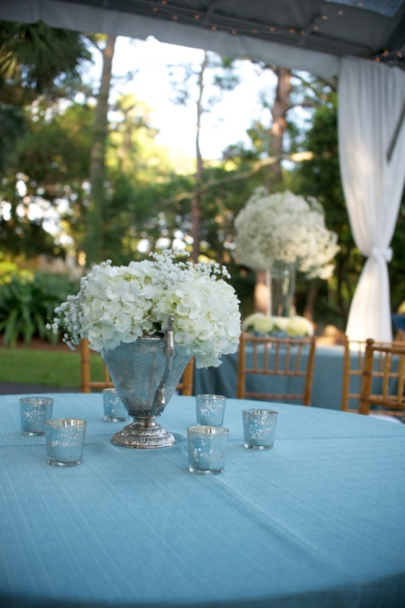 hydrangae wedding centerpieces sea island destination wedding via donna von bruening