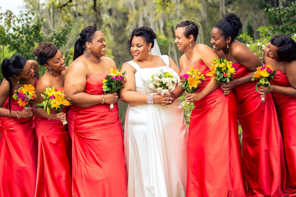 persimmon bridesmaids dresses