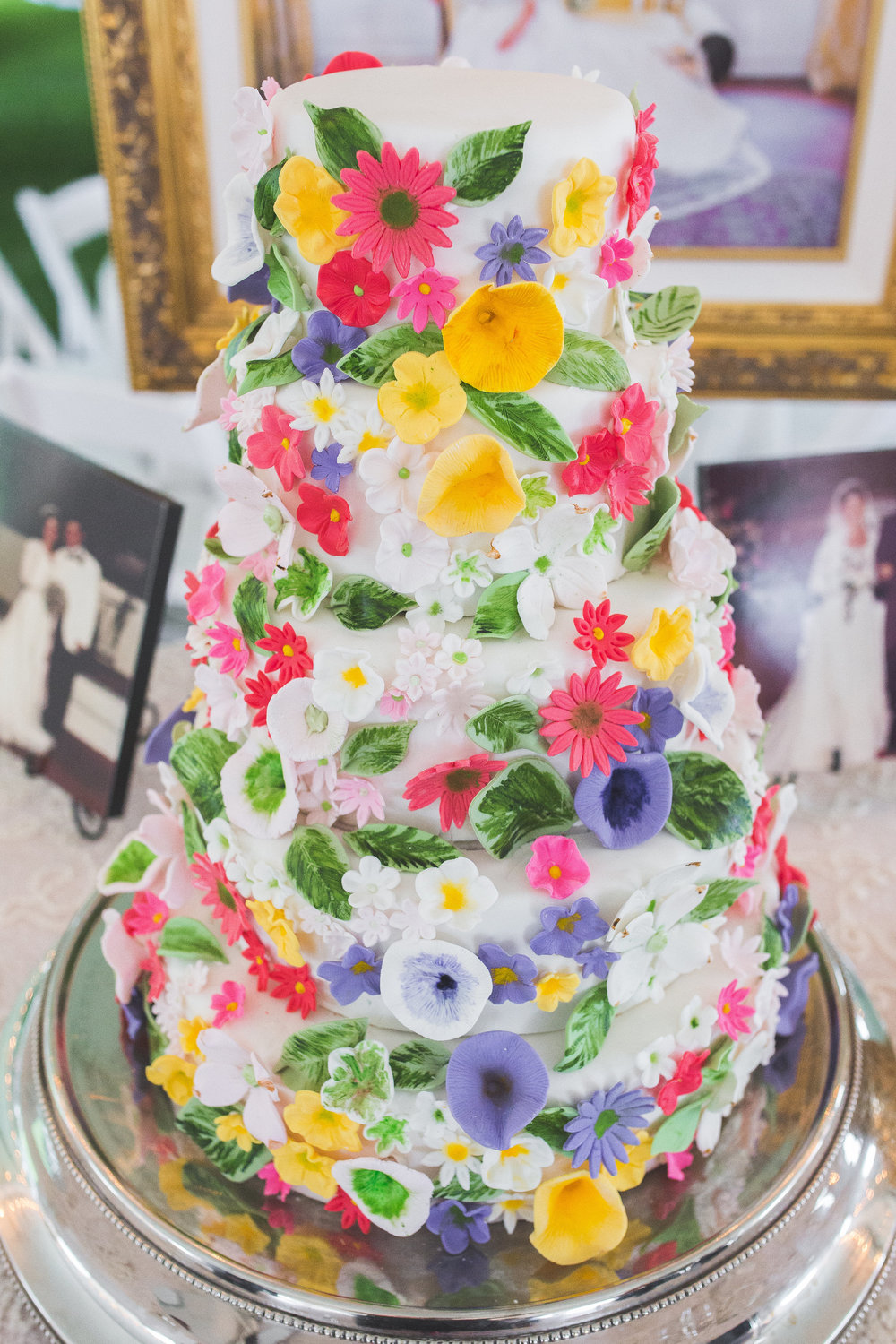 Hand Painted Flower Wedding Cake