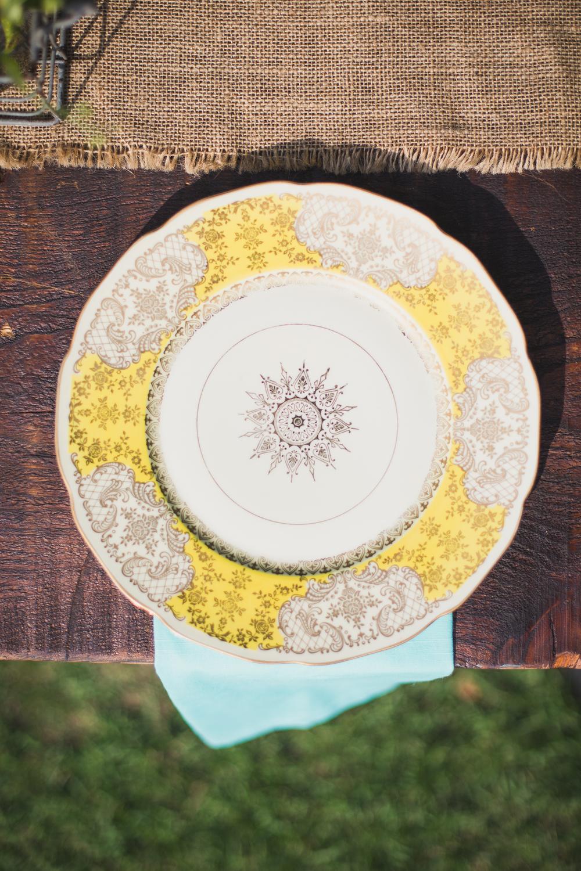 Vintage Plates at Charleston Wedding