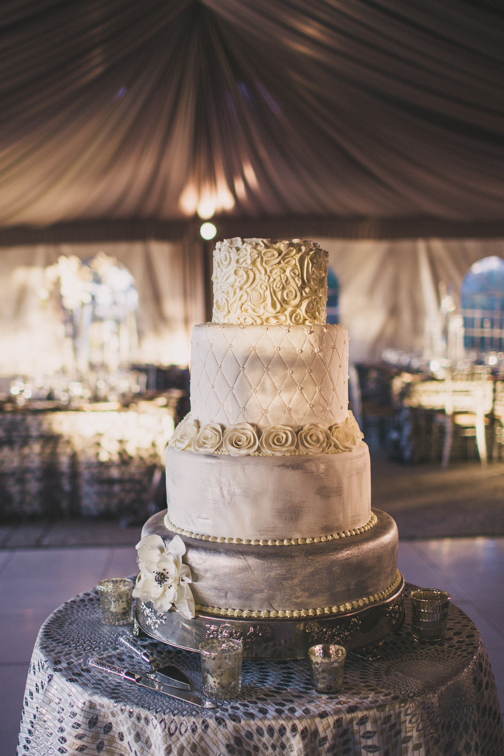 Silver cake at Lowndes Grove Plantation wedding
