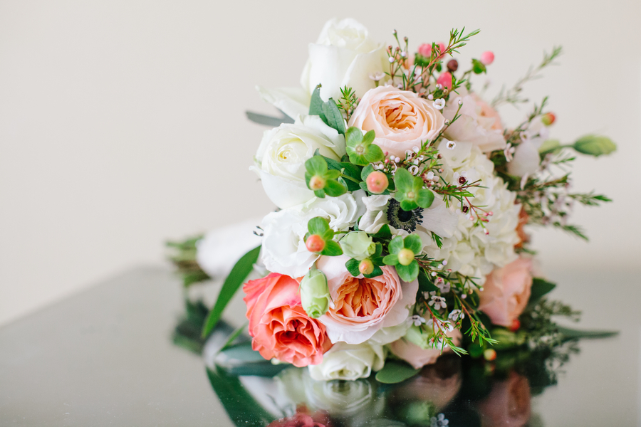 Peach, white and green wedding bouquet