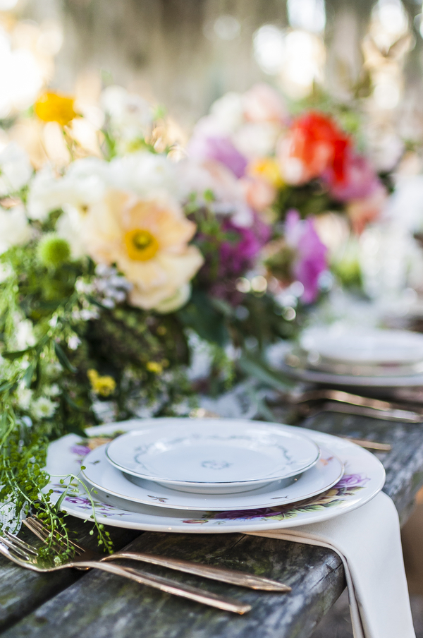 Colorful Savannah Wedding place setting