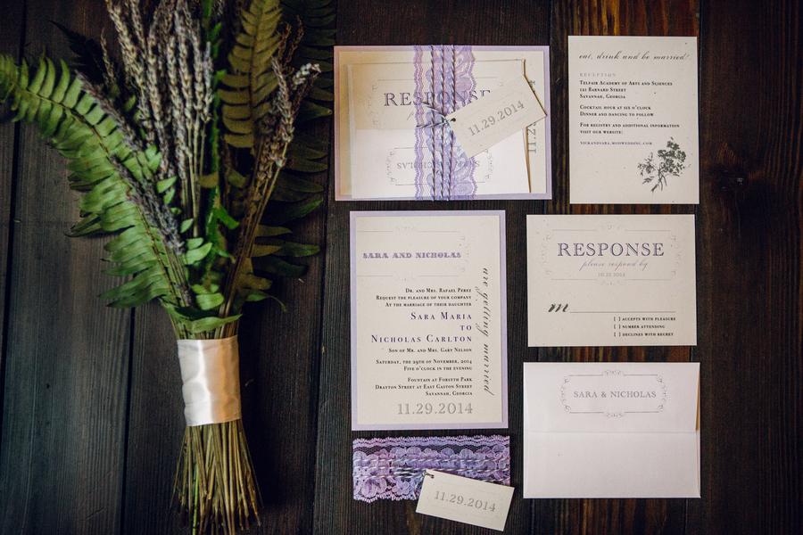 Purple Savannah wedding invitations