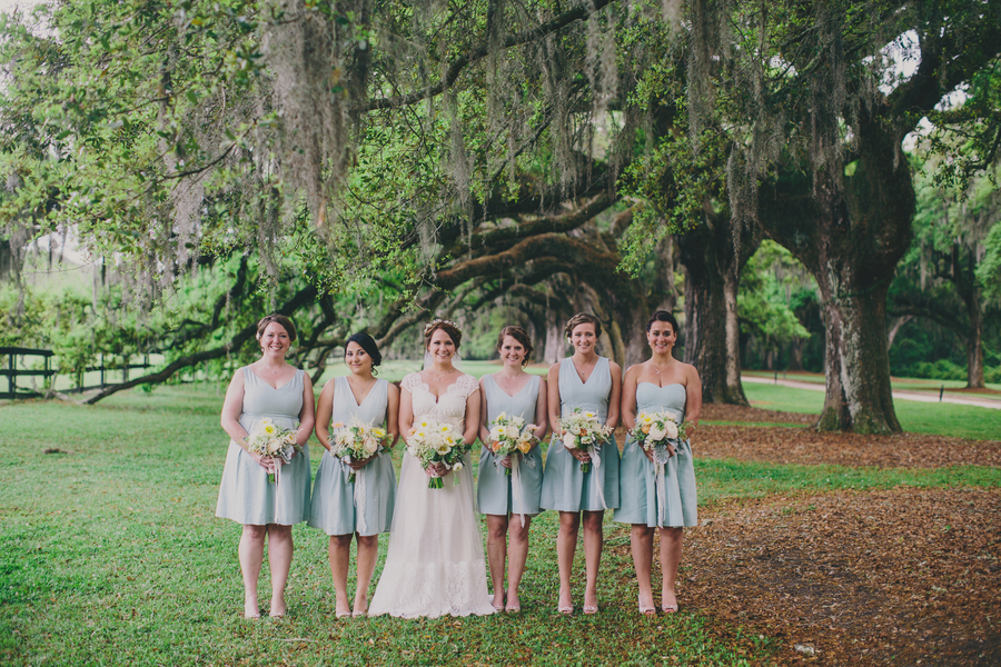Charleston wedding bridesmaids at Boone Hall Plantation