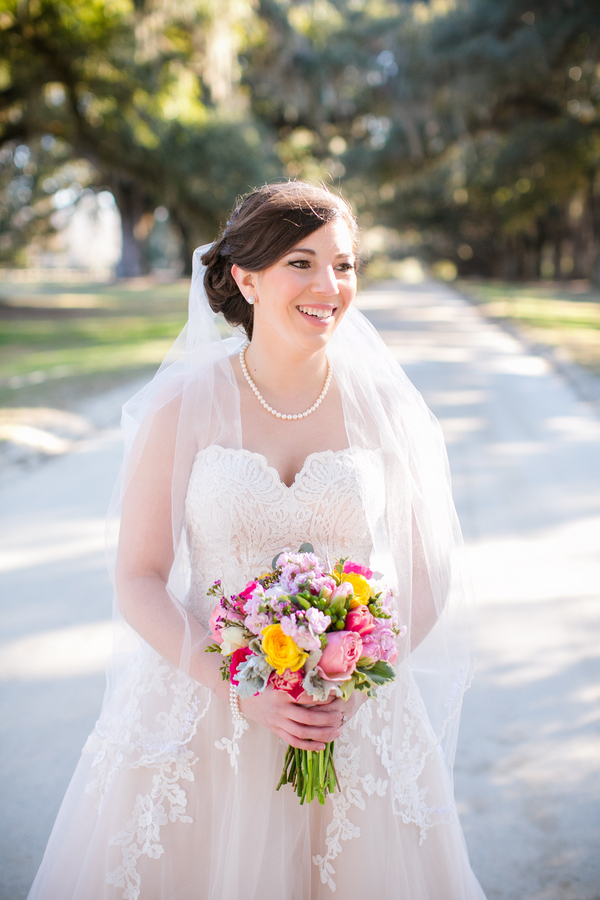 Winter Bridal Portraits at Boone Hall Plantation in Charleston, SC