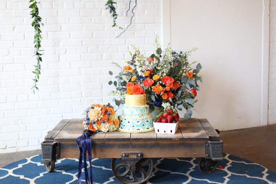 Blue and Orange Wedding Flowers