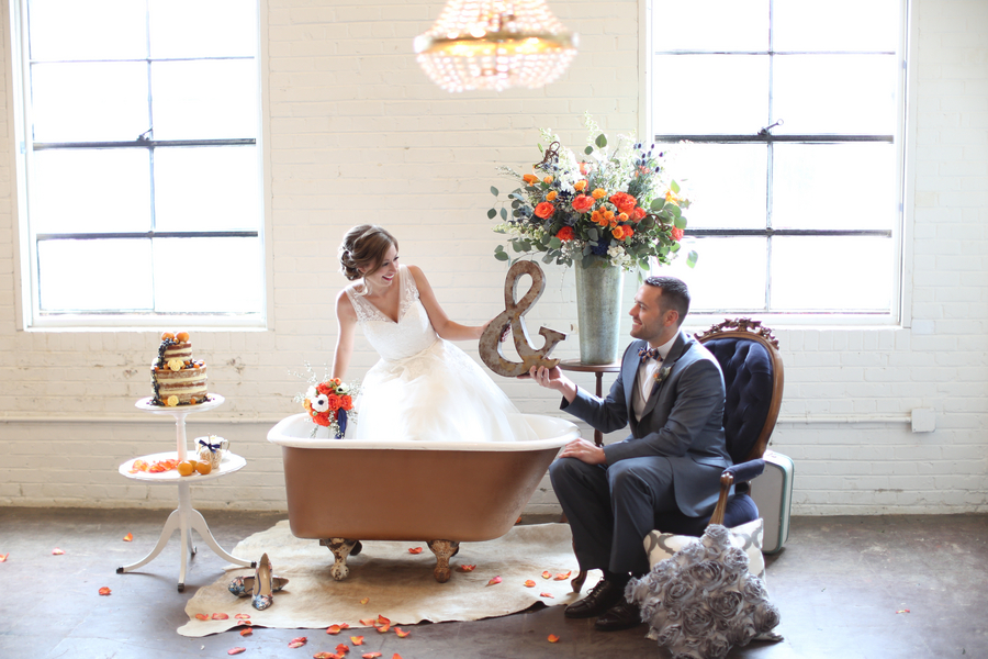 Eclectic blue and orange wedding inspiration