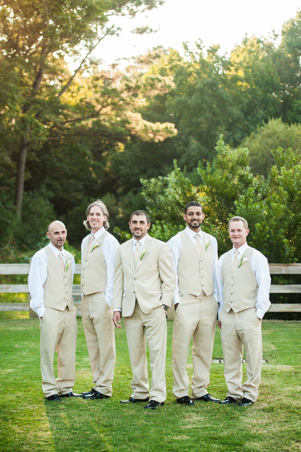 Groomsmen in Tan Suits & Vests