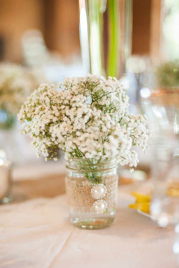 Baby's Breath and Burlap Centerpiece