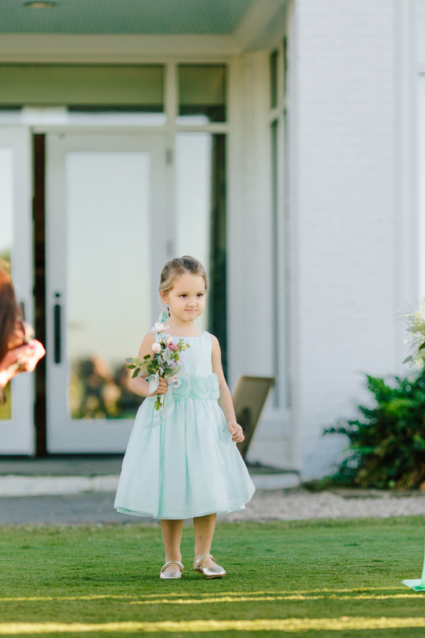 Flower girl in mint dress