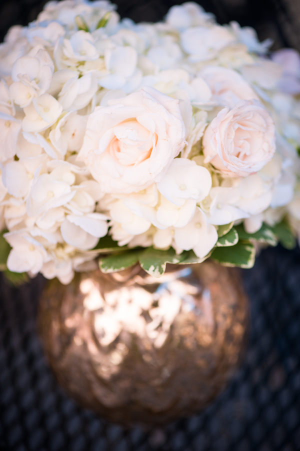 White Rose Centerpiece in copper vase