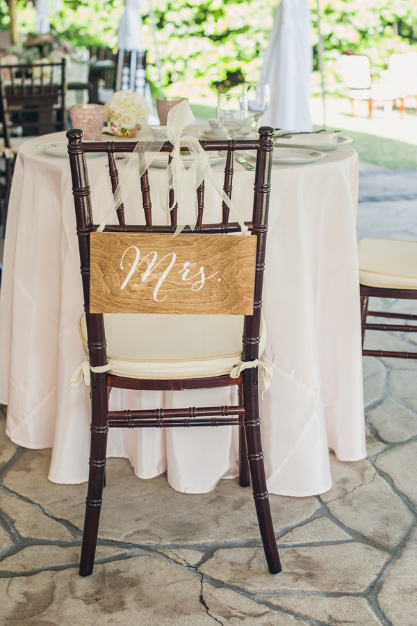 Mrs. wedding chair sign