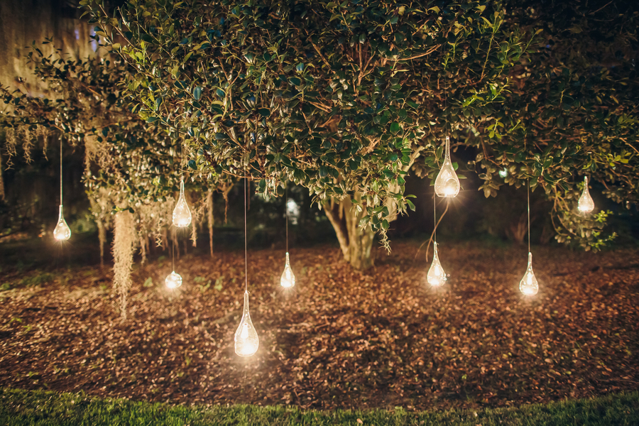 Hanging wedding lights