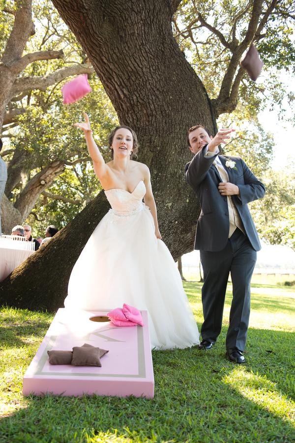 Cornhole Boards at Charleston wedding