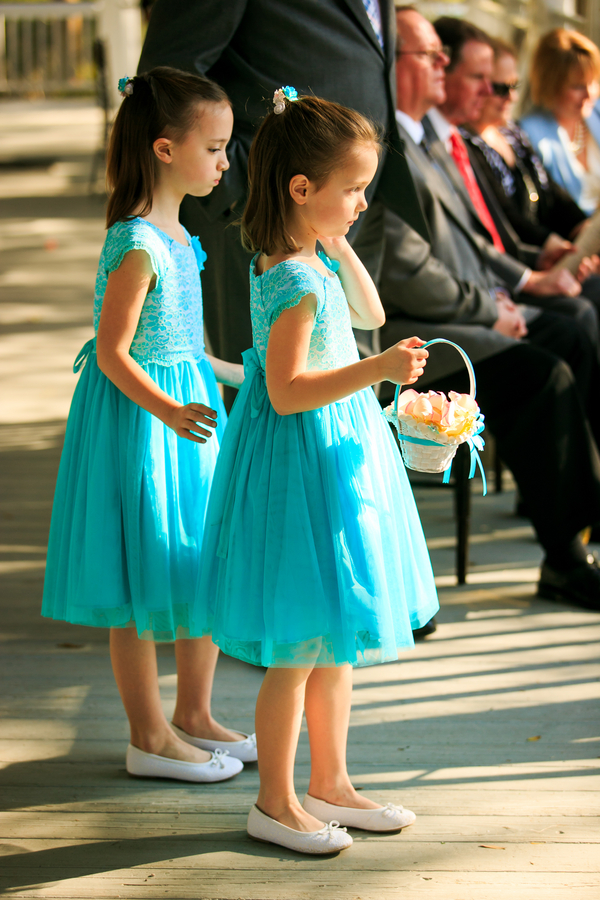Flower girls in Aqua
