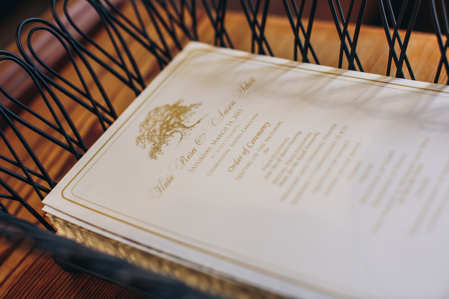 Charleston wedding programs