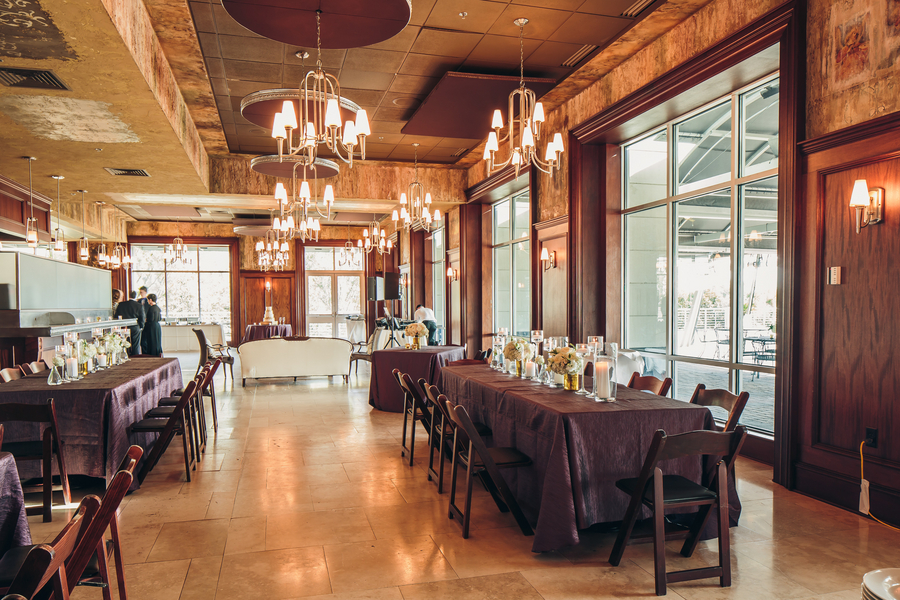 Purple and Gold Harborside East Wedding