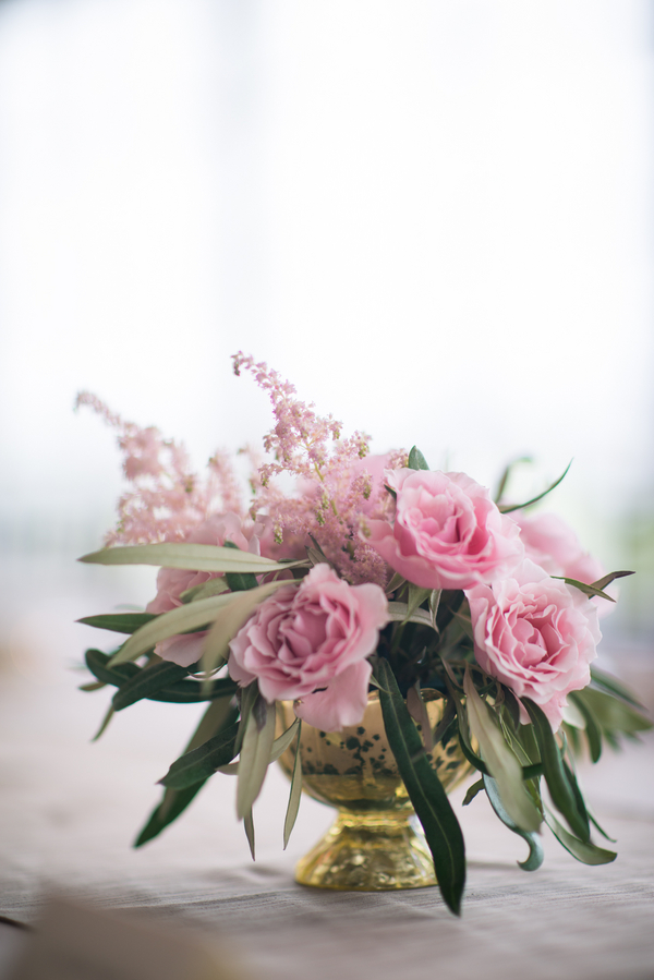 Charleston Wedding Centerpiece with Pink Garden Roses
