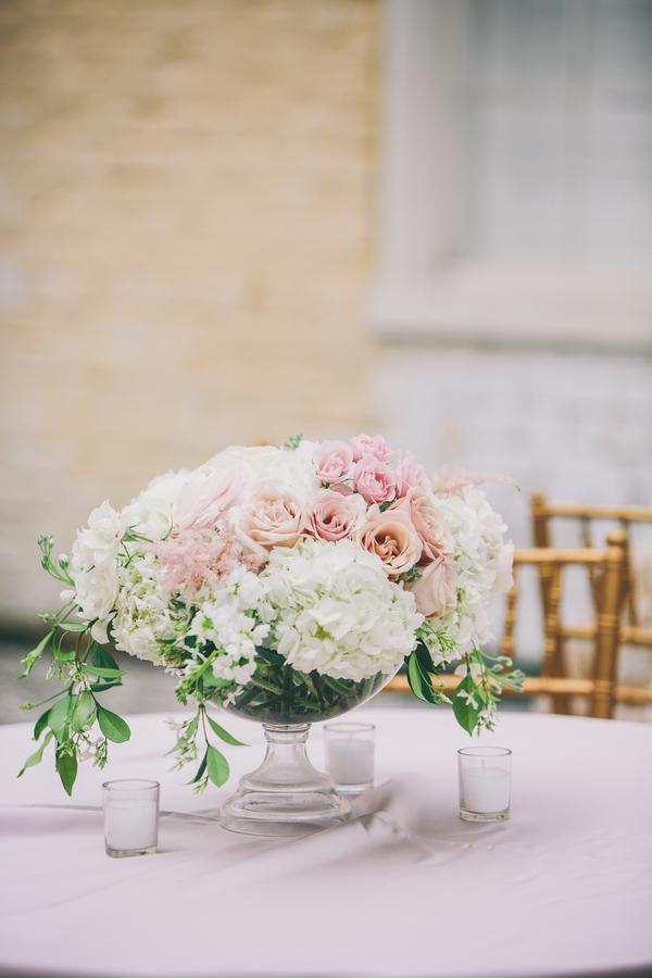 Blush pink and white centerpiece at William Aiken House wedding