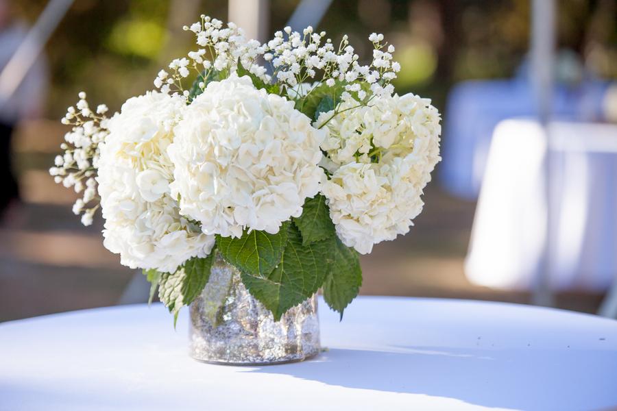 Hydrangea centerpiece at myrtle beach wedding