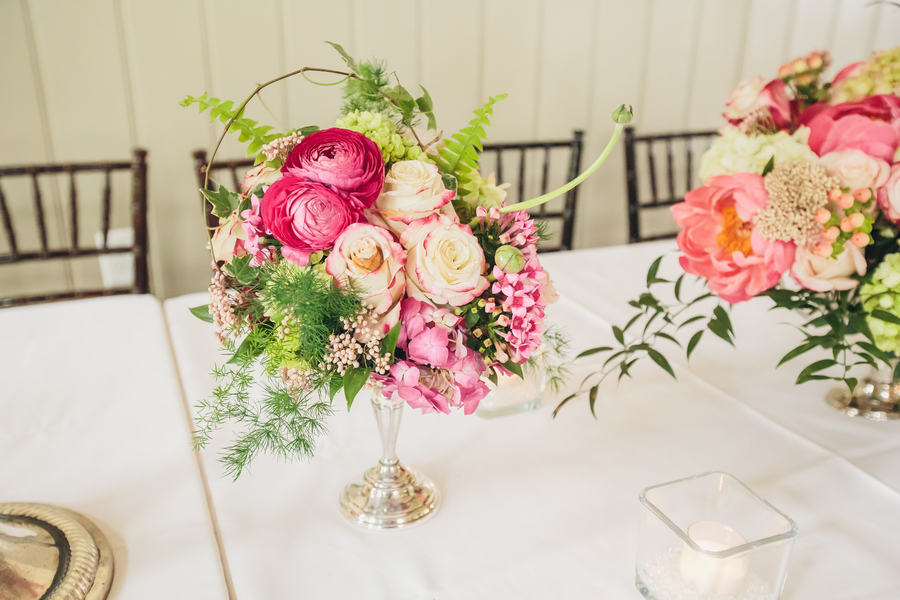 Charleston Wedding Centerpieces with bright pink peonies
