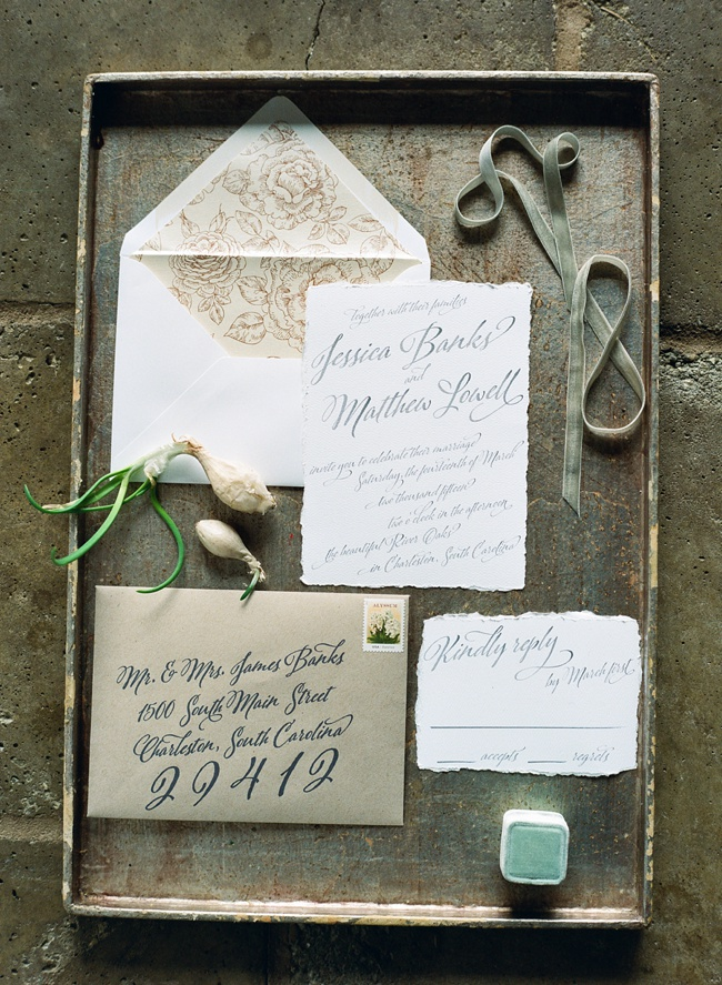 Charleston invitations at RiverOaks wedding