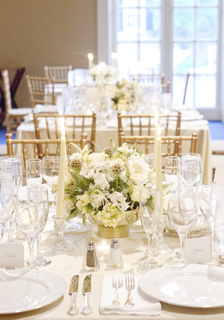 Charleston wedding white centerpieces and candlelight
