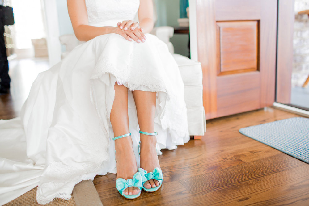 Mint Shoes with bows at Beaufort wedding