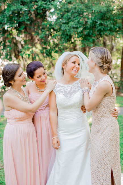 Pale Pink bridesmaids dress at Beaufort, SC wedding