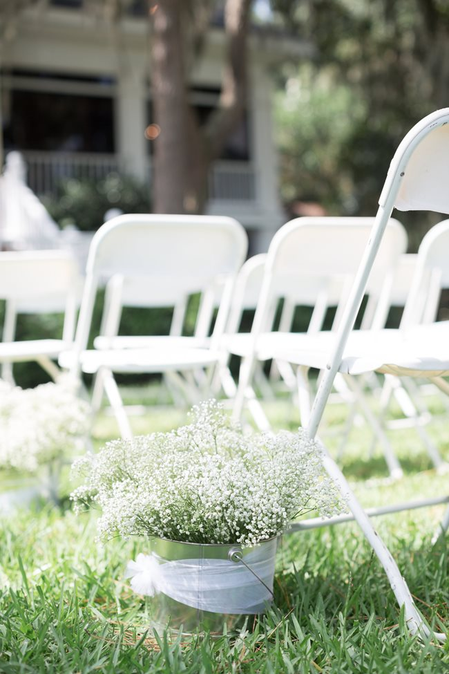 Baby's Breath aisle decor at Plantation Landing wedding