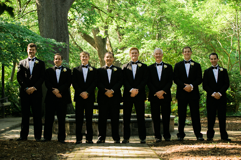Groomsmen in Black Tuxedos at Columbia SC wedding