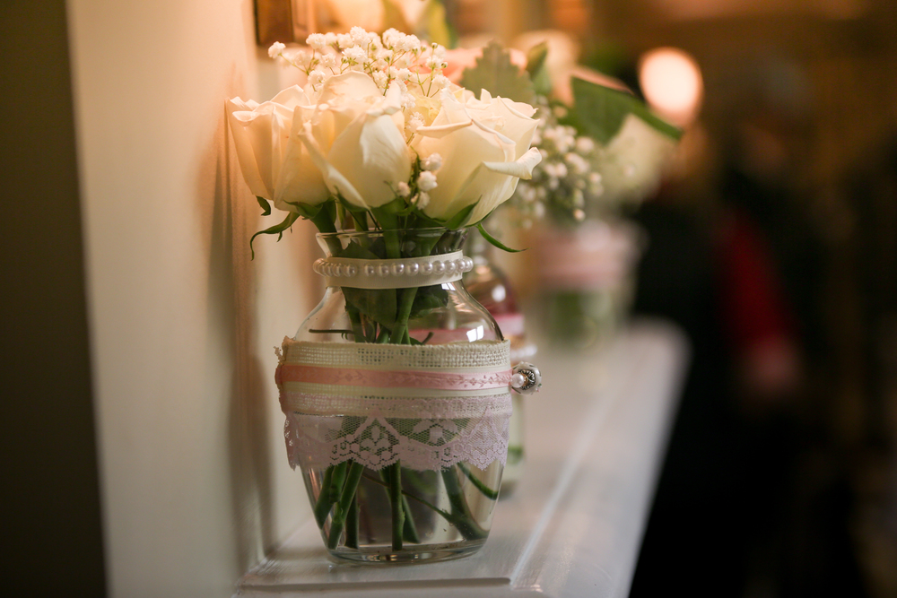 Burlap details at wedding at the Lace House