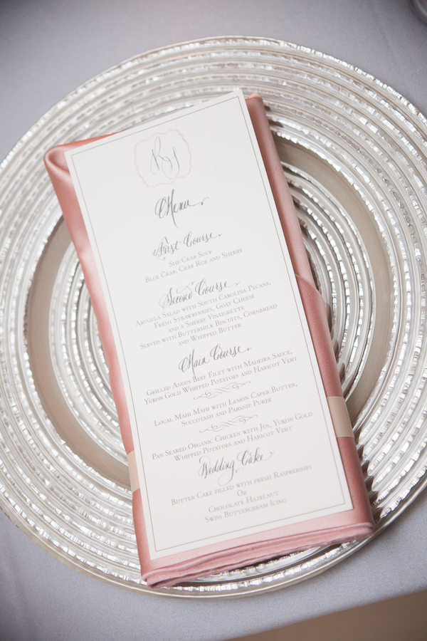 Charleston Wedding Place setting at Middleton Place