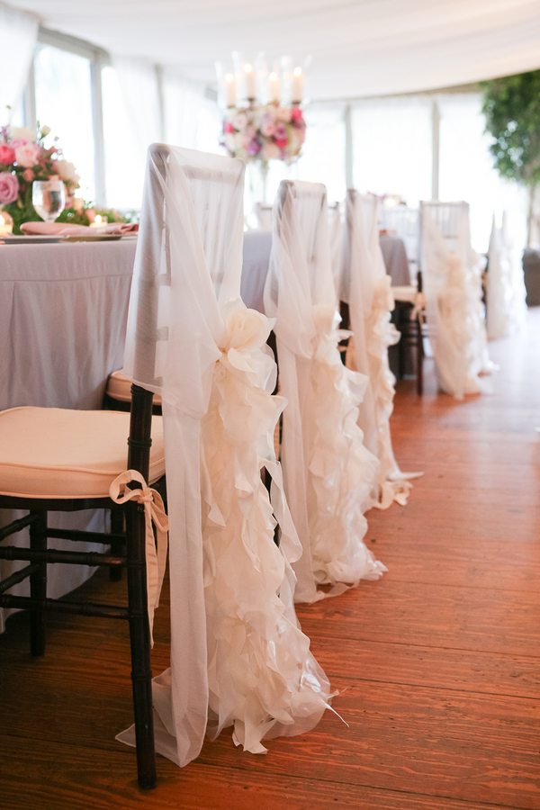 Charleston wedding chair cover with ruffles