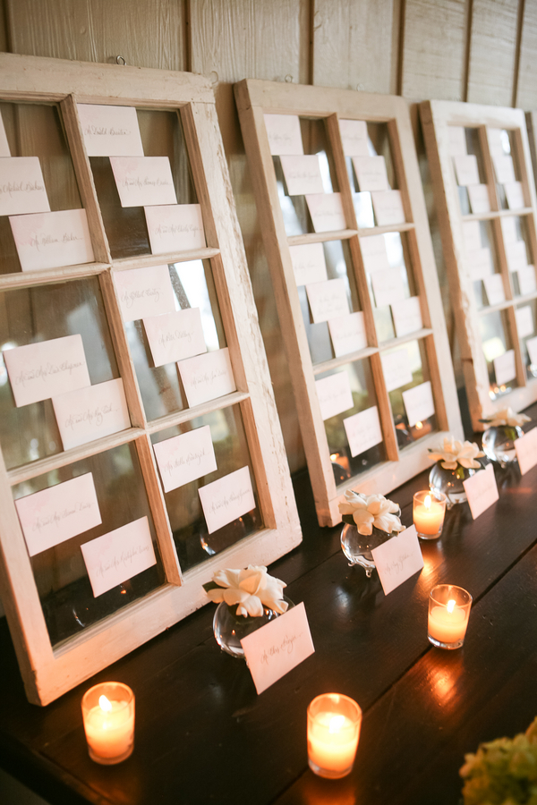 Charleston wedding escort card display by Engaging Events